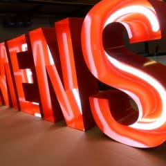 Fabricated steel lettering for custom signs. Faux neon signs from Neonplus.