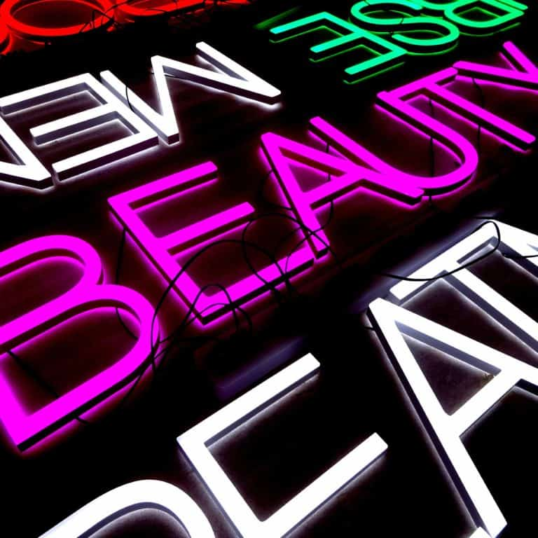 Multi-coloured Faux neon signs for fashion and department stores. Retail signmaking with LED illumination.