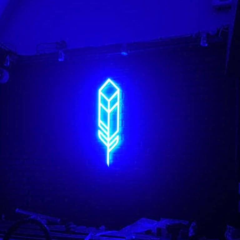 Contemporary blue feather neon sign, with geometric design and faux neon lights.