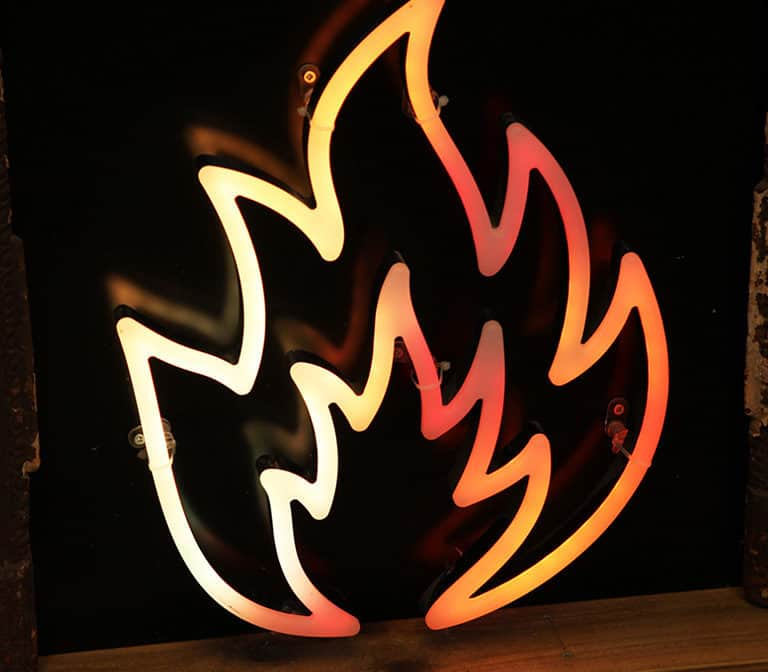 Digital faux neon with fire animation leds